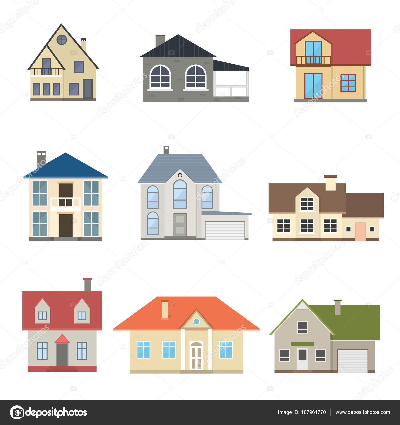 Cartoon Häuser Außenkulissen. Vektor — Stockvektor © bigmouse #187961770
