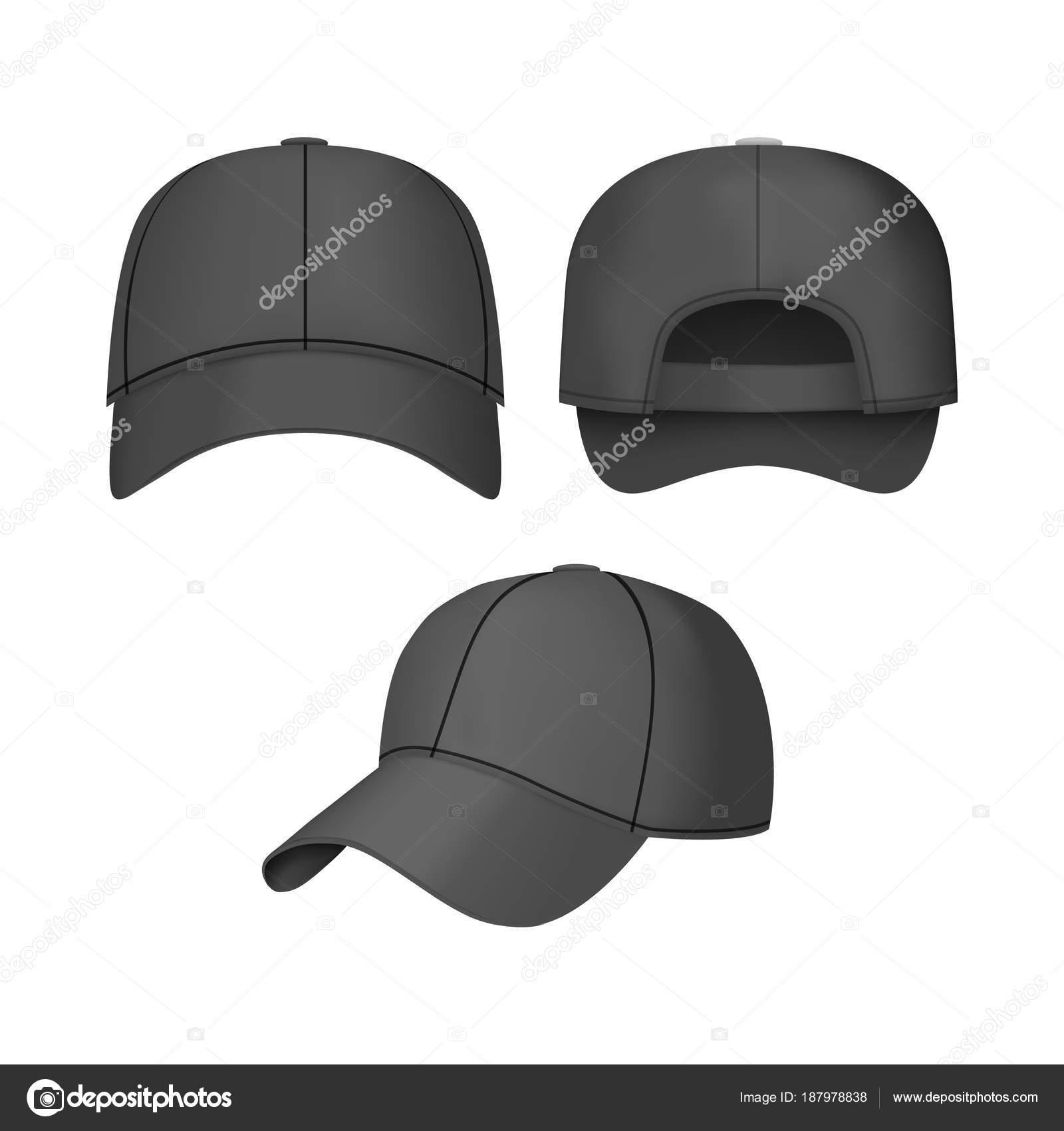 Realista 3d gorra de béisbol negra retroceder frente y vistas laterales en  fondo claro. Ilustración de vector de Moda Casual - vector  gorra beisbol  ... b28e89415a2