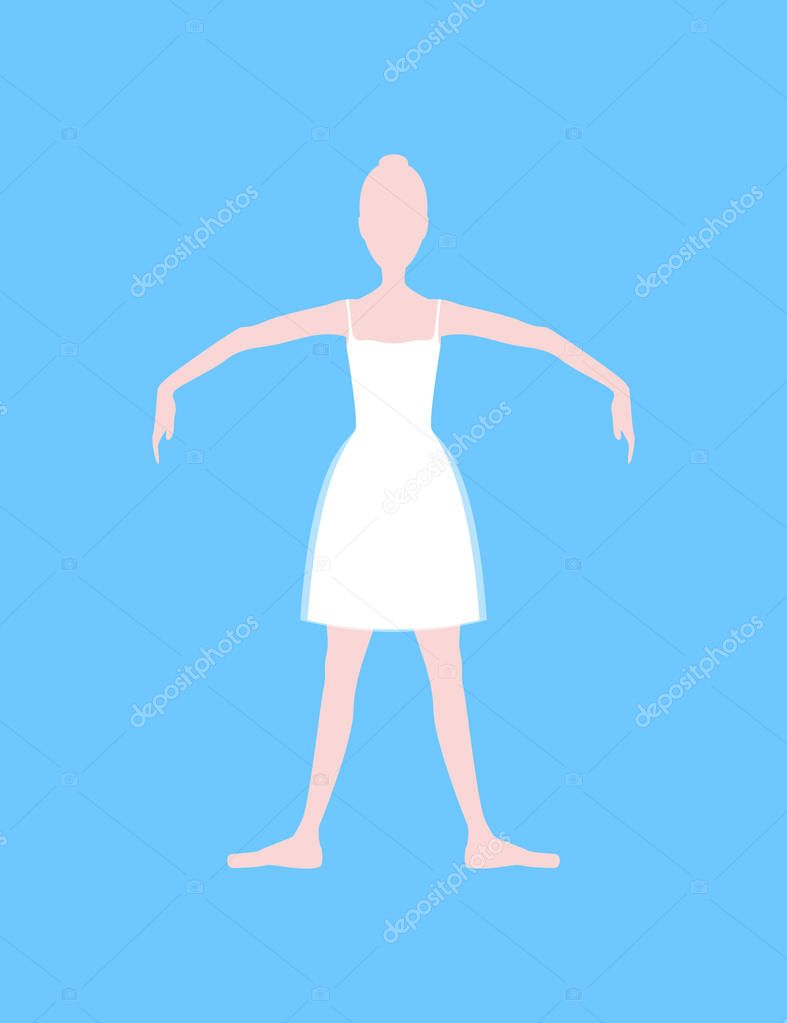 Cartoon Basic Ballet Classical Dance Fifth Position White Silhouette Woman On A Blue Background Vector Illustration Premium Vector In Adobe Illustrator Ai Ai Format Encapsulated Postscript Eps Eps Format