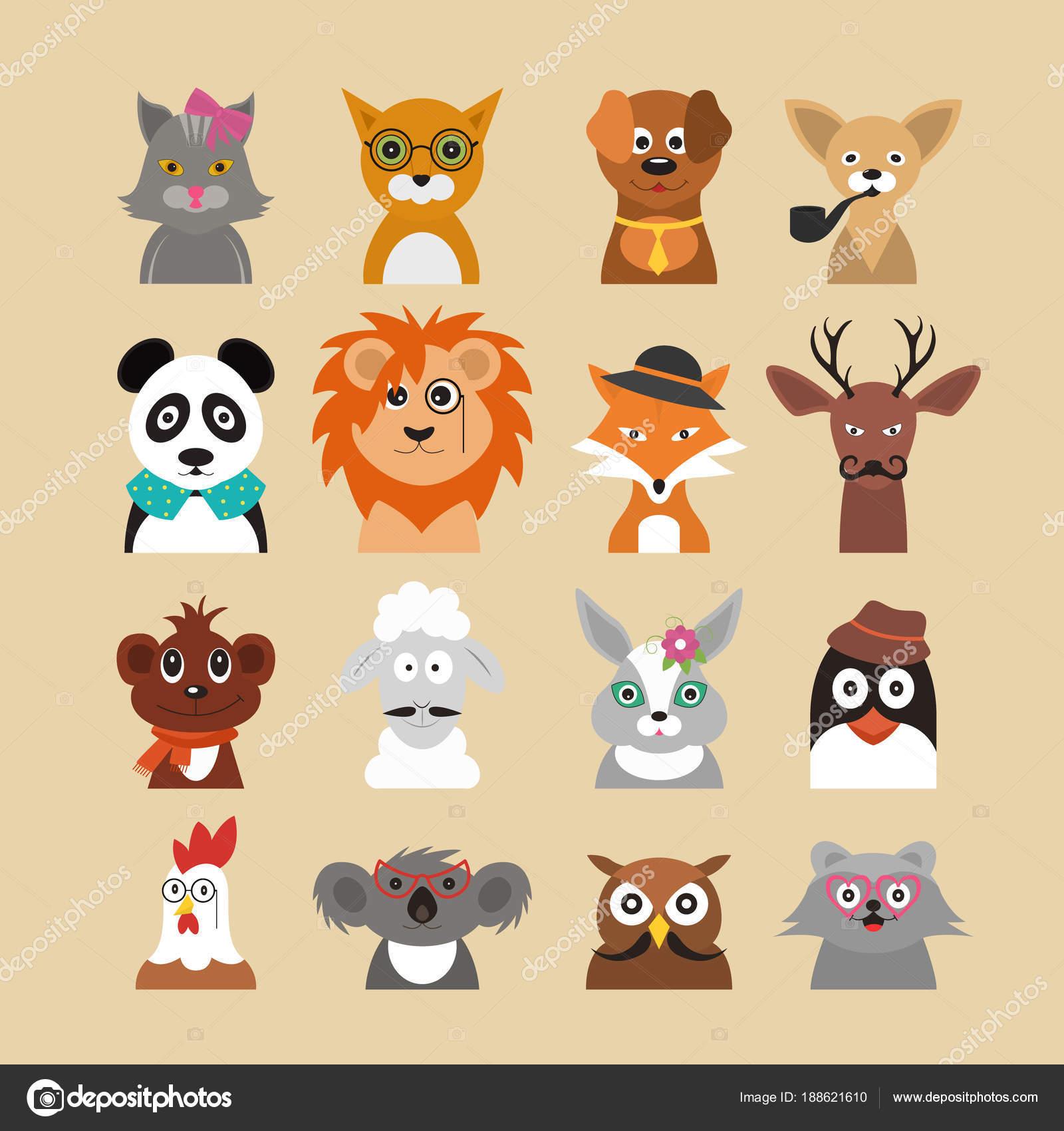 Cartoon-Hipster Tiere Zeichen Symbolsatz. Vektor — Stockvektor ...
