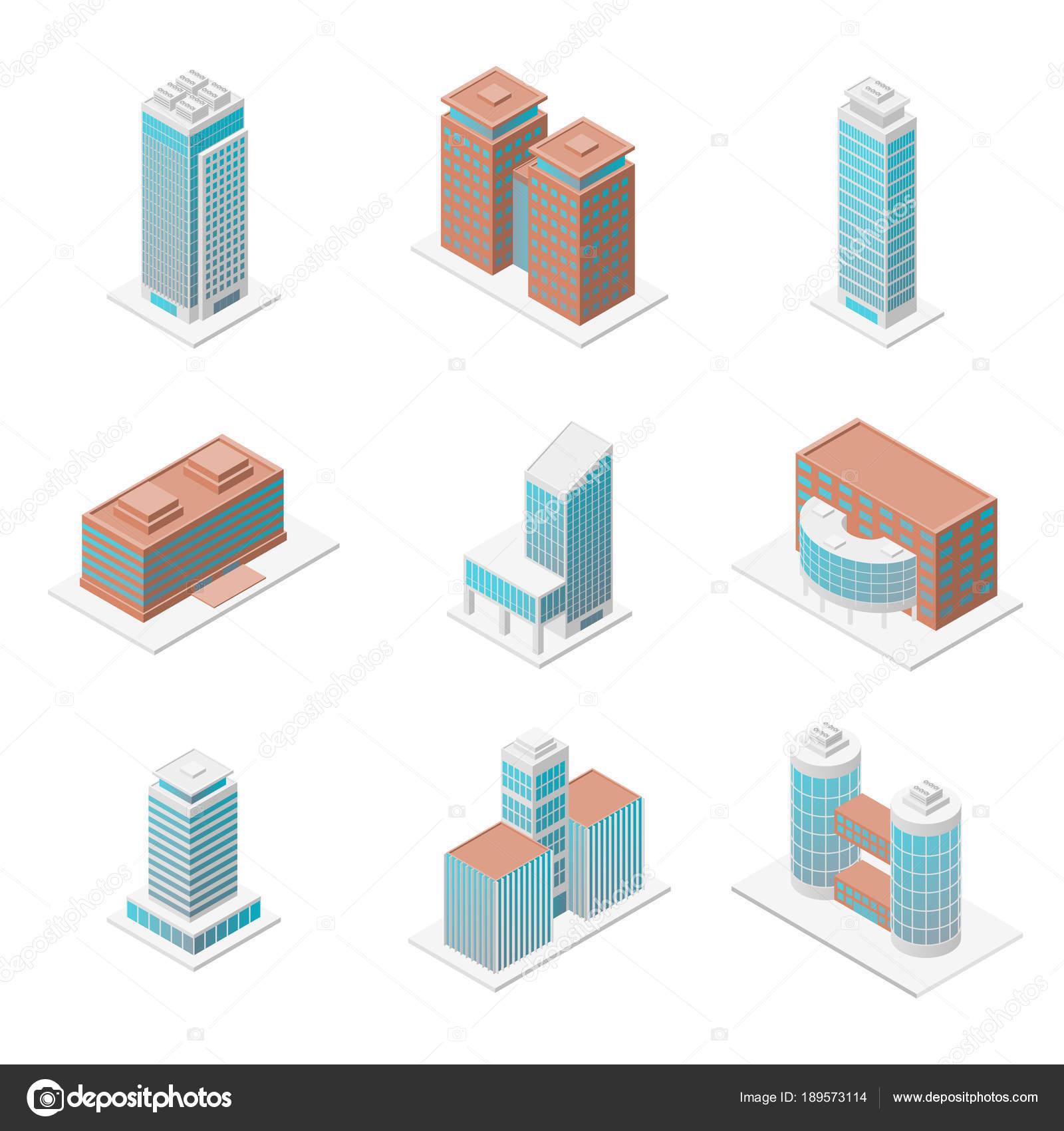 Verschiedene Bürogebäude 3D-Icons stellen isometrische Ansicht ...