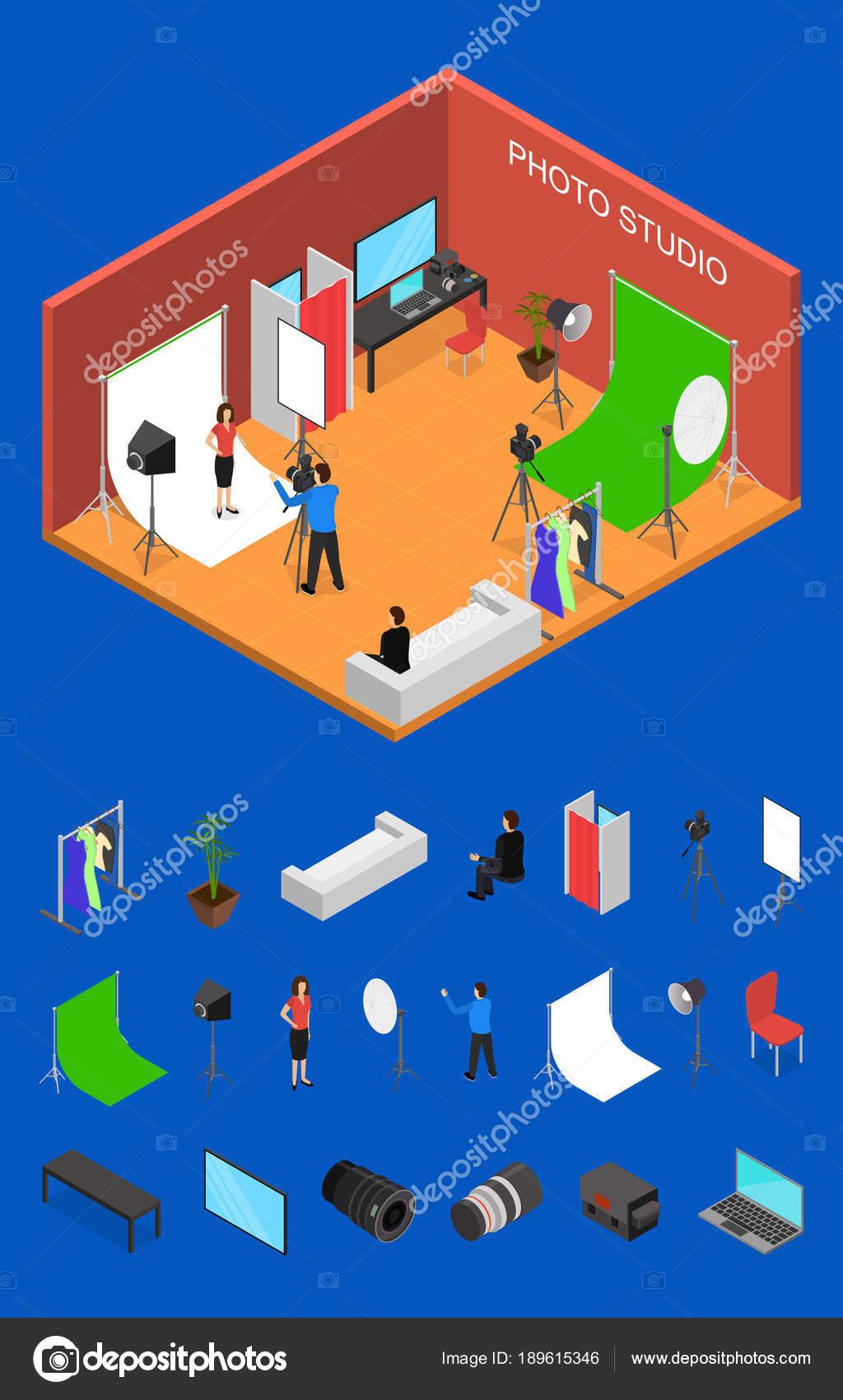 Foto estudio Interior con muebles y elementos de vista isométrica ...