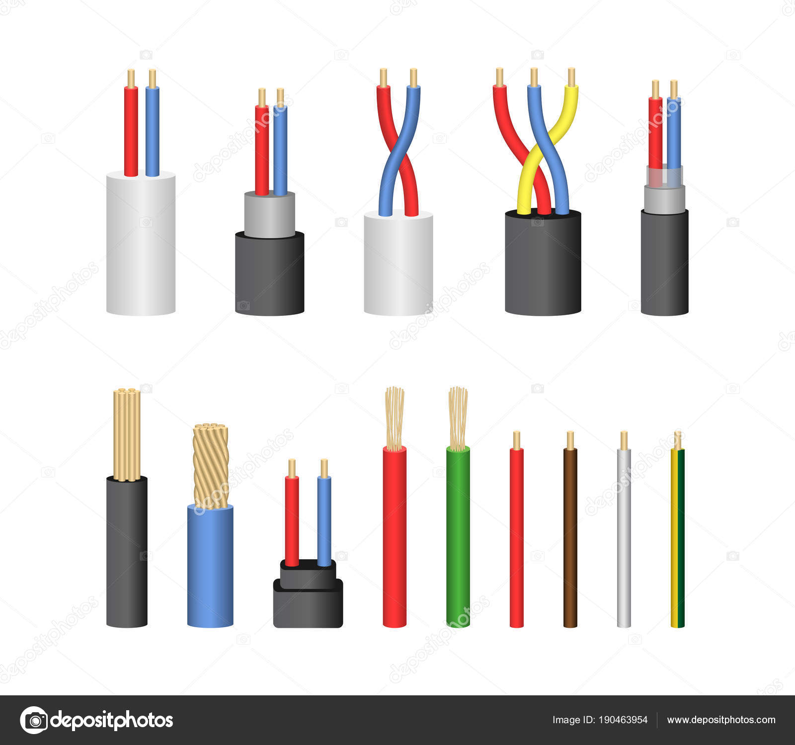 Realistic Detailed 3d Electrical Cable Set. Vector — Stock Vector ...