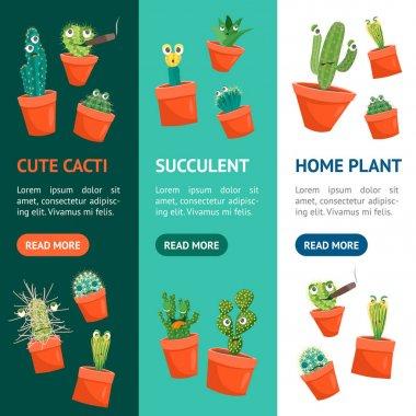 Cartoon Funny Cactus Characters Banner Vecrtical Set. Vector