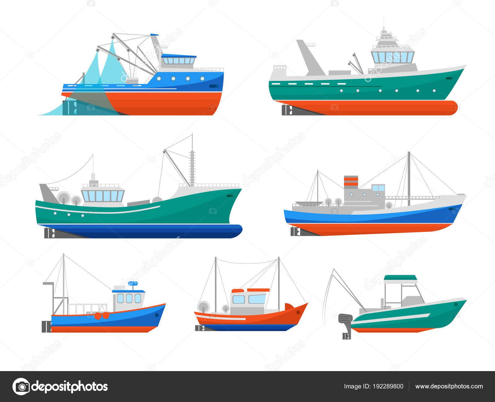 Dibujos Pesca Industrial Animados Dibujo Animado Conjunto De