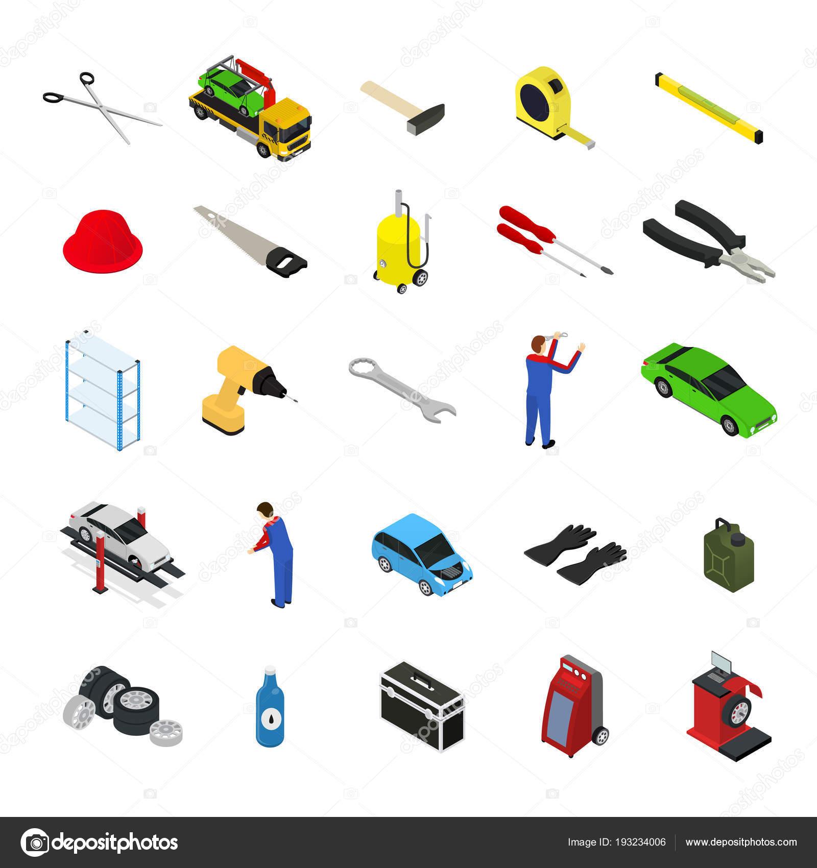 Auto Service Möbel und Geräte-Symbol stellen isometrische Ansicht ...