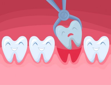 Cartoon Color Character Tooth is Removed. Vector