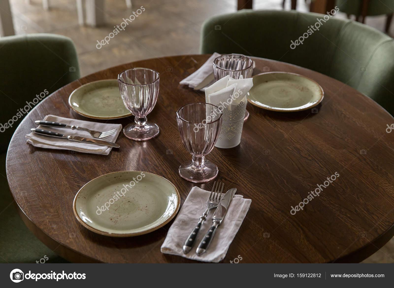 Restaurant Interior Set The Table In The Restaurant Stock Photo