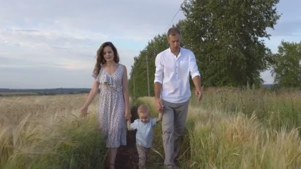 Rodinné procházky na louce, rodiče, kteří hrají s synem