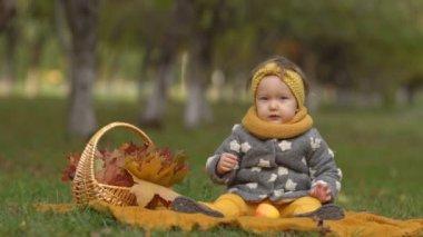 Family in sunny autumn park