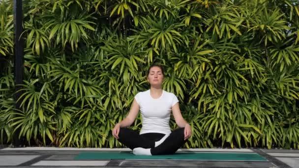Yoga im Freien. Junge Frau meditiert in Lotusposition