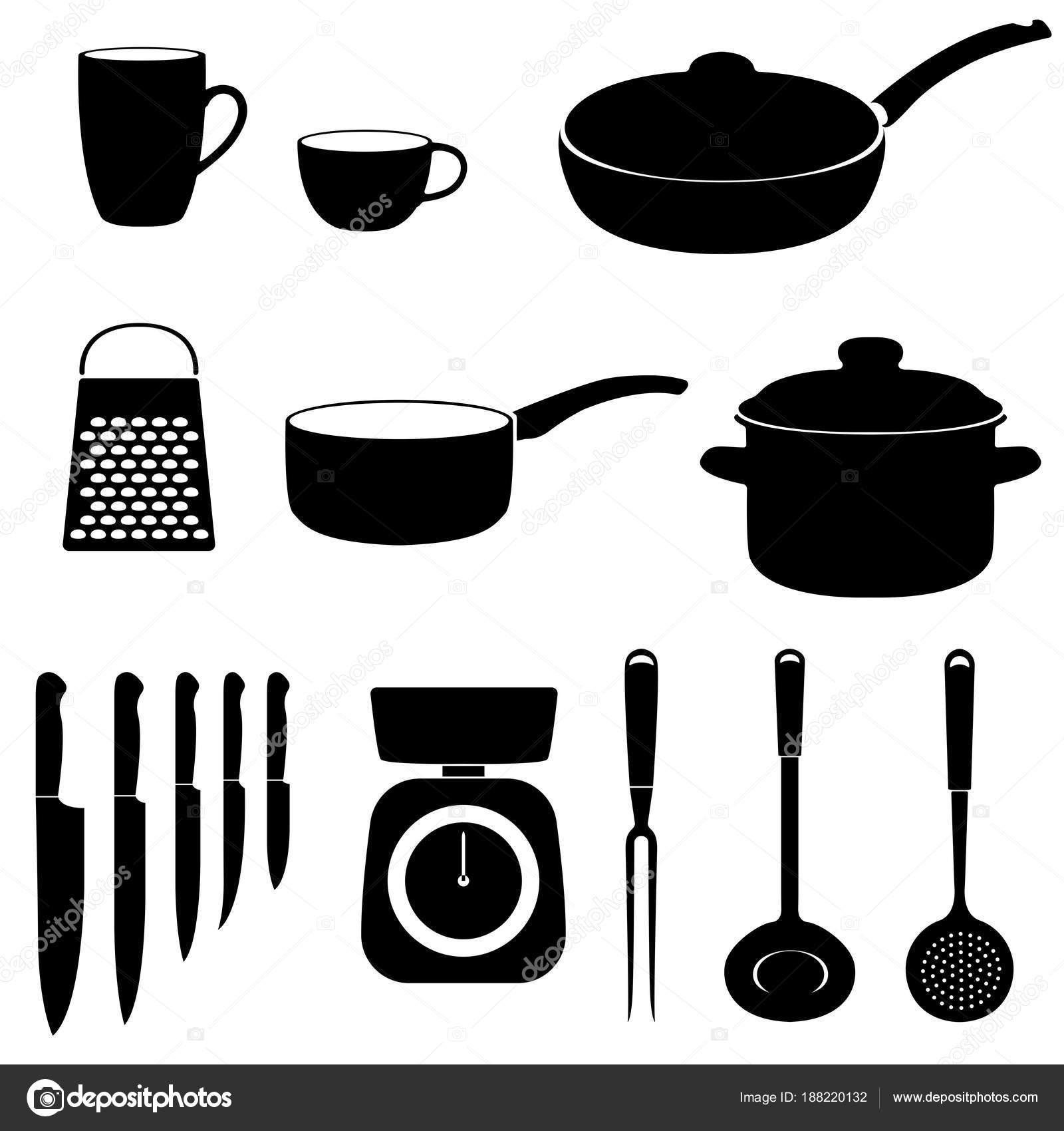 Set Von Icons Von Küchenutensilien Schwarze Silhouetten Auf Weißem ...