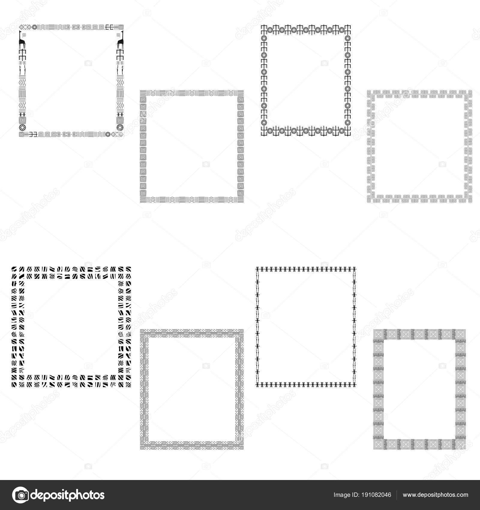 Frame Space Text Set Frames Traditional African Patterns Ethnic ...