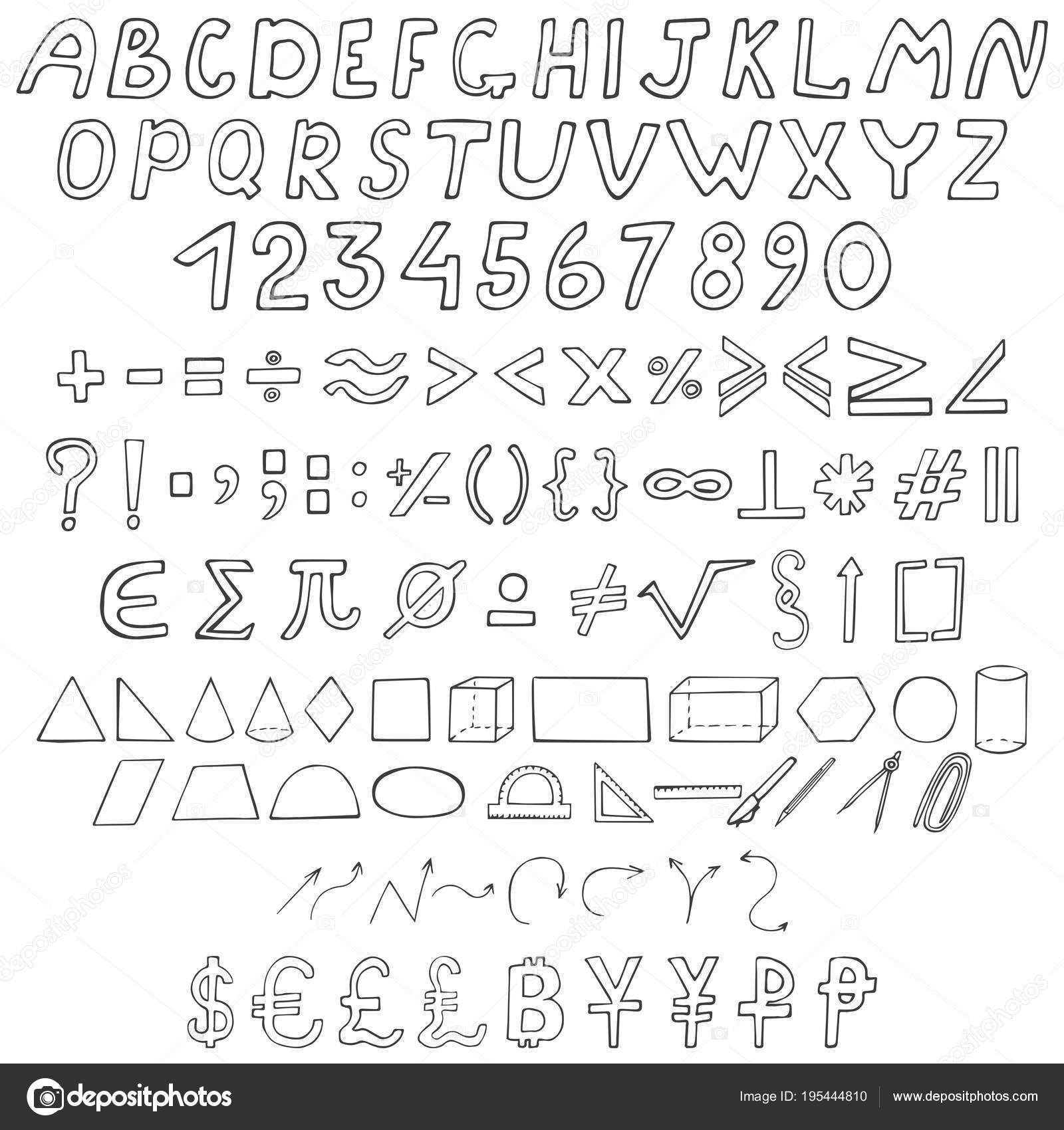Collection School Signs Hand Drawn Font Numbers Mathematical Symbols