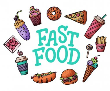 Vintage illustration with fast food doodle elements and lettering on white background for concept design, menu. Vector illustration for any purposes.