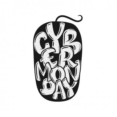 Cy ber Monday Sale label. Promotional banner template with lettering composition. Vector illustration