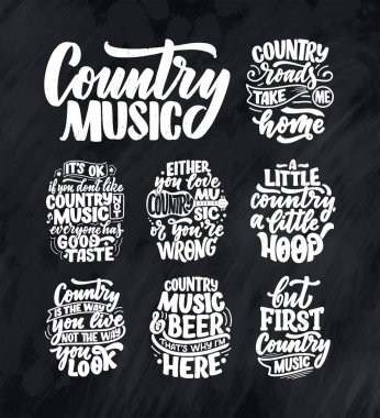 Set with Country Music lettering quotes for festival live event poster Concept. Textured Vector Illustration. Funny slogans for cowboy print design.
