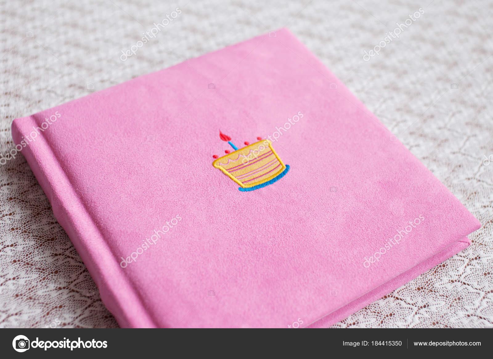 Prachtige Fotoboek In Licht Roze Textiel Te Dekken Baby Fotoboek