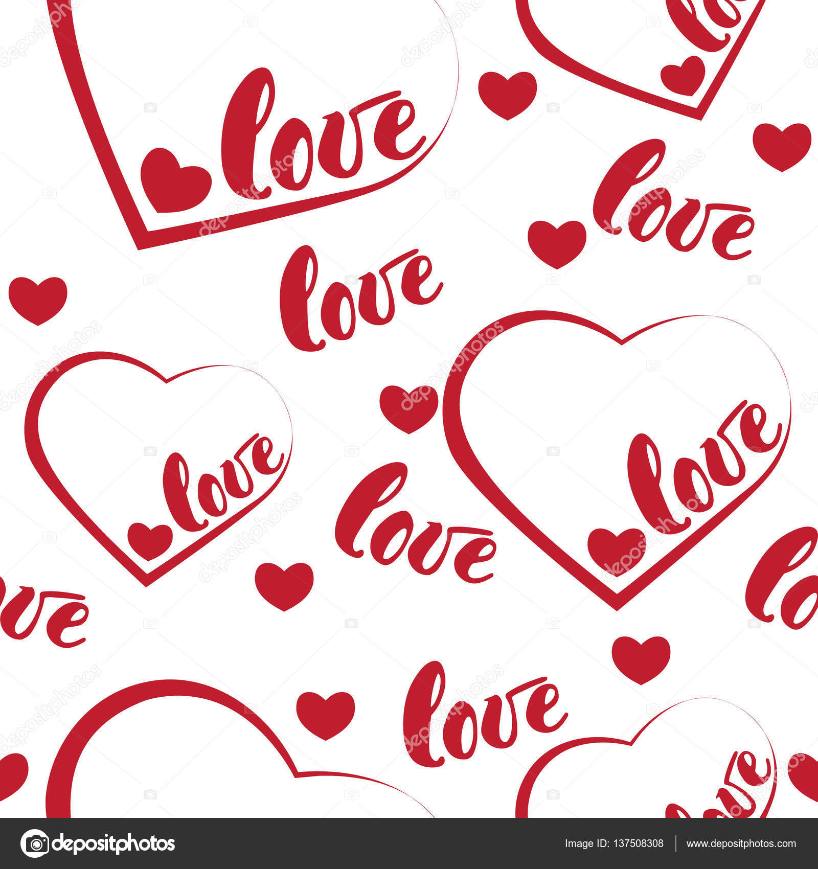 Romantic Red Love And Heart Pattern Background. Vector Illustration For  Holiday Design. Many Flying