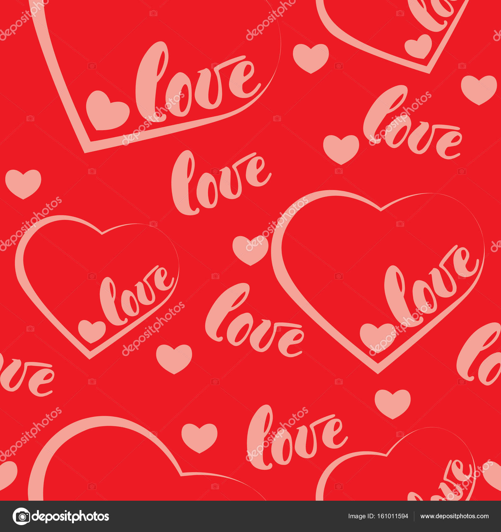 Lovely Romantic Red Love And Heart Pattern Background. Illustration For Holiday  Design. Many Flying Words
