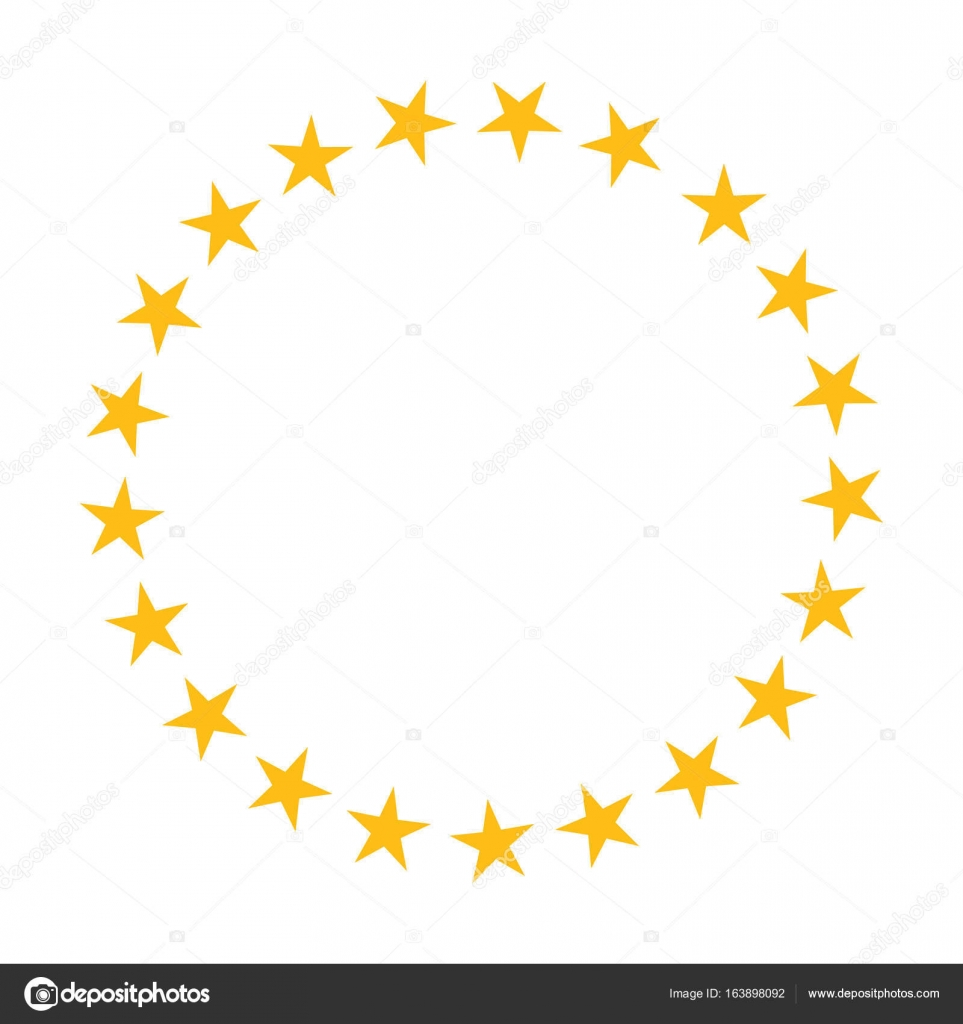 Star in circle shape. Starry vector border frame icon isolated on a ...