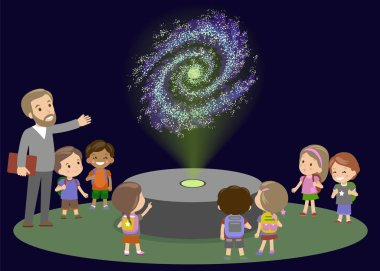 School Trip to Planetarium with Teacher. Kids boy and girls on lecture about space galaxy. Astronomy lesson of future. innovation Education Museum New Technology Hologram Vector