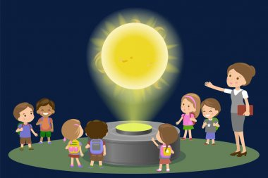 Innovation education elementary school museum astronomy center. Technology and people concept - group of kids looking to Sun hologram on physics lesson future. Vector