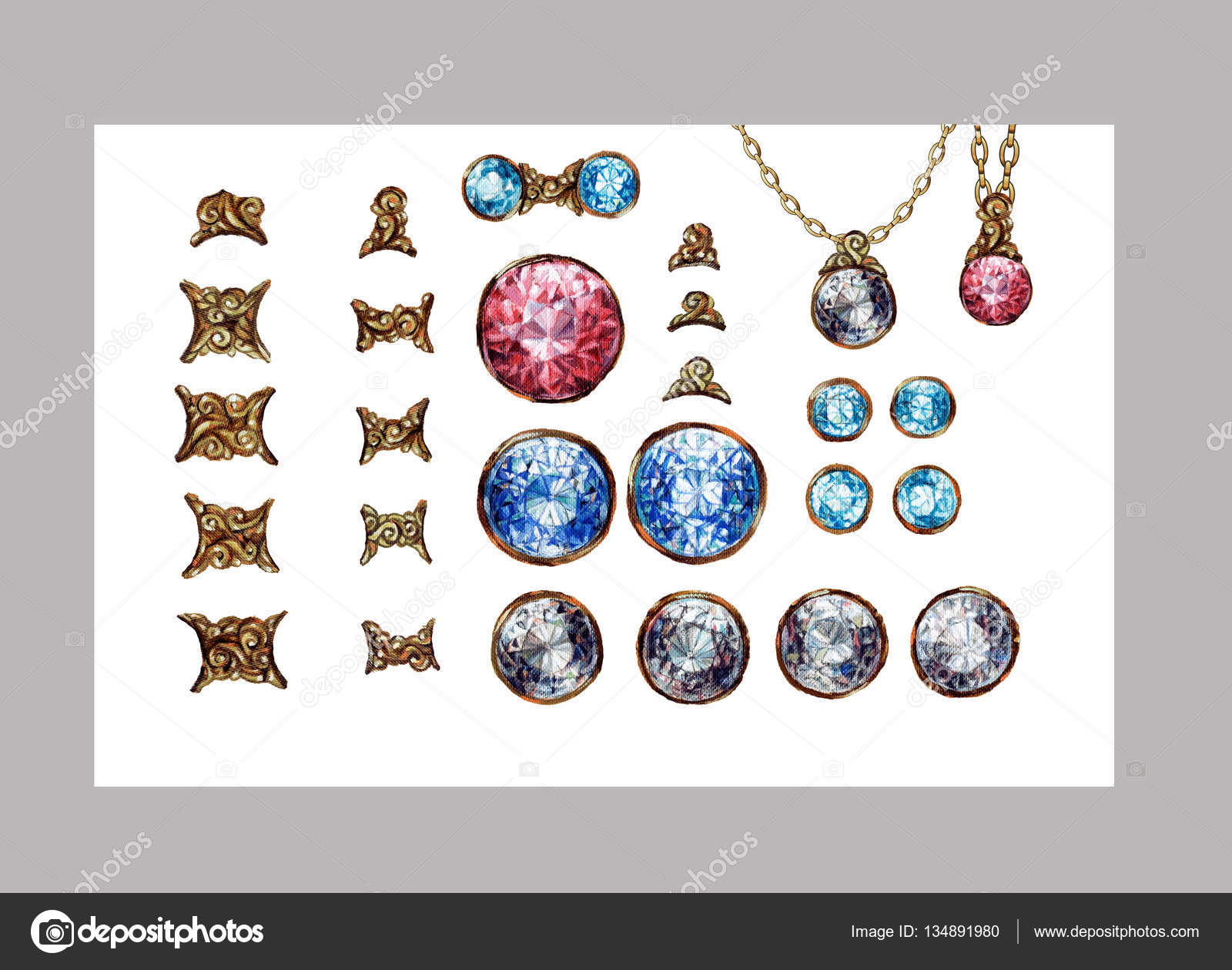 Kézzel rajzolt crystal Drágakövek Drágakövek elszigetelt készlet. Arany  ékszer nyaklánc csatlakozók. Briliáns gyémánt d868705a76