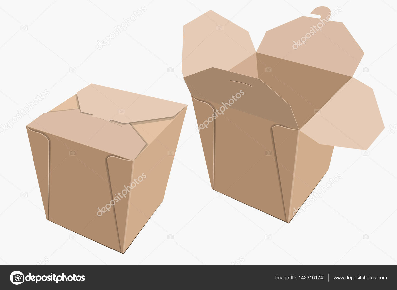 Beige Paper Container Of Chinese Food. Storage Box Delivery. Vector  Illustration U2014 Vector By GoodLuckWithUs
