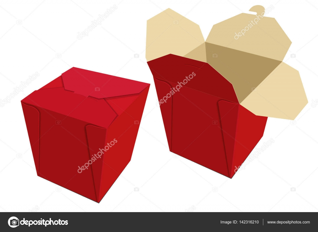 Beige Red Paper Container Of Chinese Food. Storage Box Delivery. Vector  Illustration U2014 Vector By GoodLuckWithUs