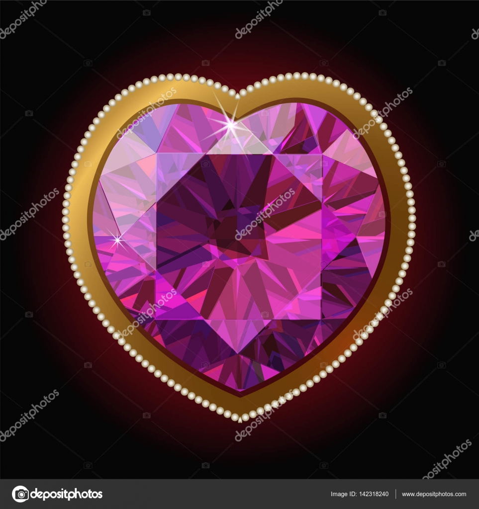 Corazón de diamante rosa en un marco de oro — Vector de stock ...