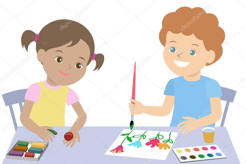 Petits enfants dessinent peinture et moule de pâte à modeler. Vector — Image vectorielle ...