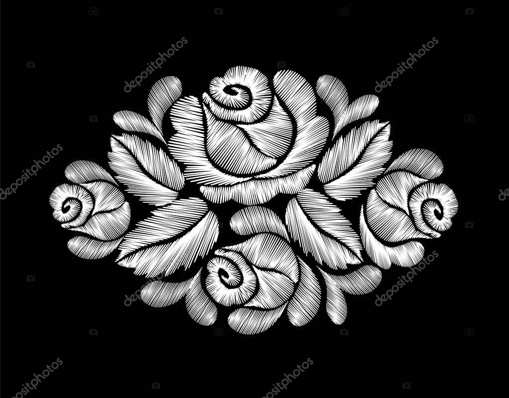 White roses embroidery on black background. ethnic flowers neck line flower design graphics fashion wearing