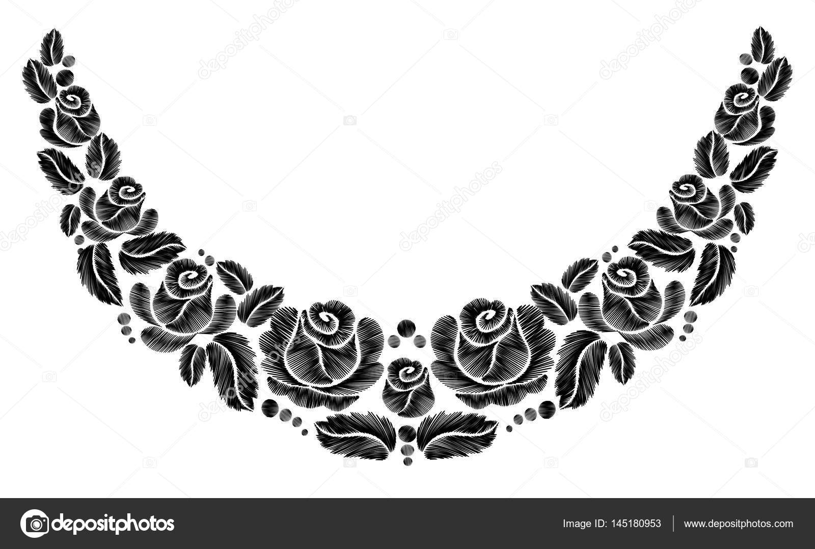 Black roses embroidery on white background ethnic flowers neck line black roses embroidery on white background ethnic flowers neck line flower design graphics fashion wearing vector vector by goodluckwithus mightylinksfo