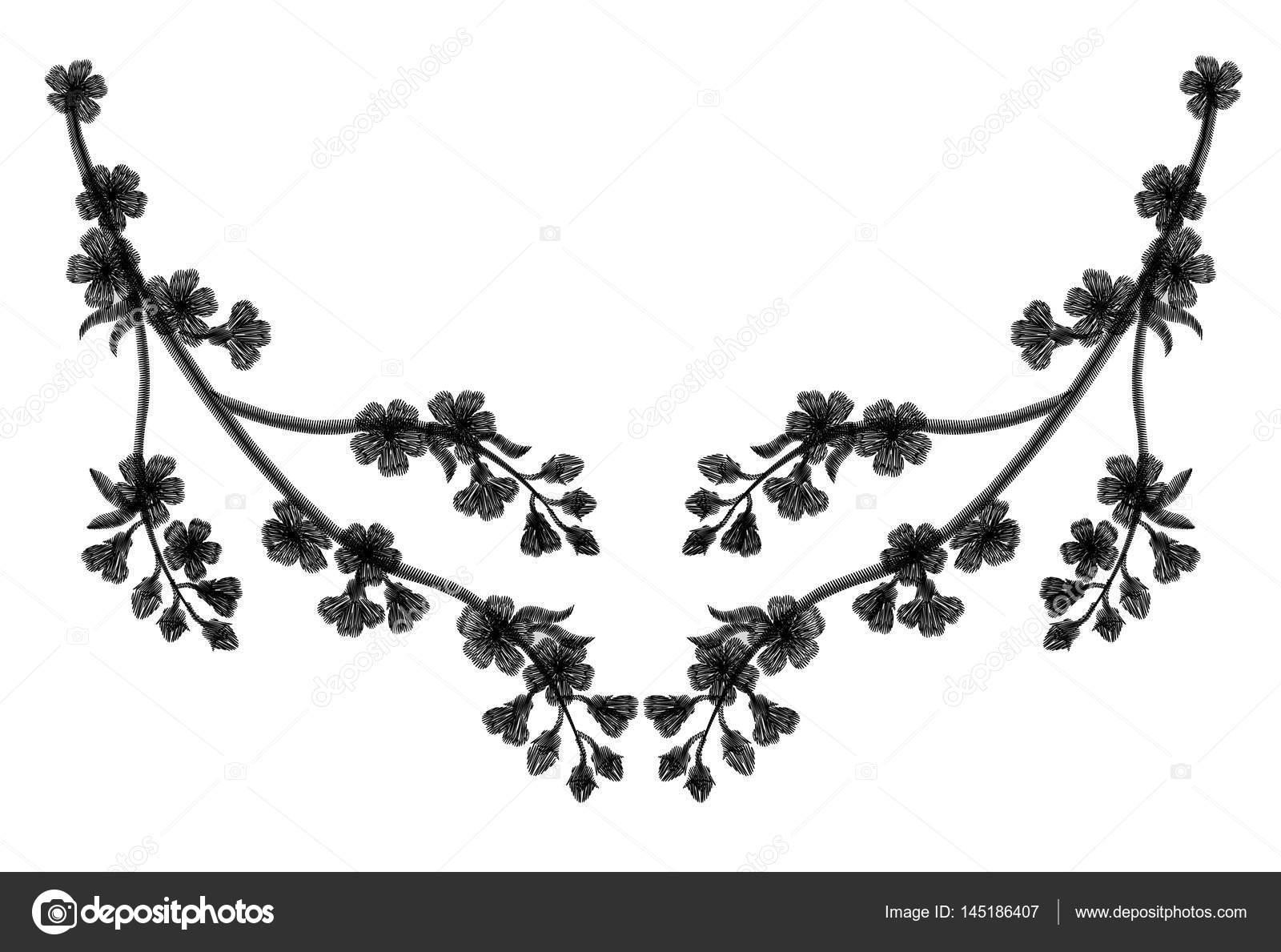 Ramas cereza florecientes de bordado sobre un fondo negro. caen ...