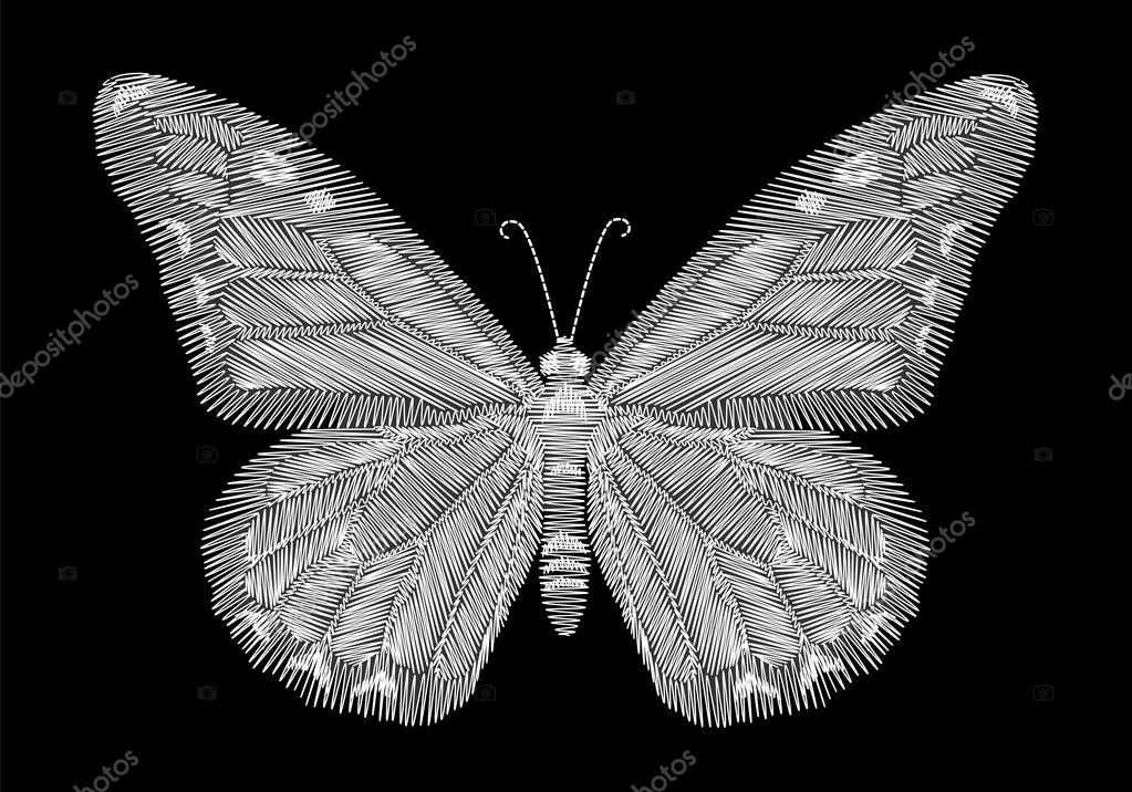 White butterfly embroidery on black background. ethnic neck line design graphics fashion wearing