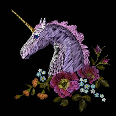 Embroidery colorful floral pattern with dog roses and forget me not flowers. unicorn Vector traditional folk fashion ornament on black background.