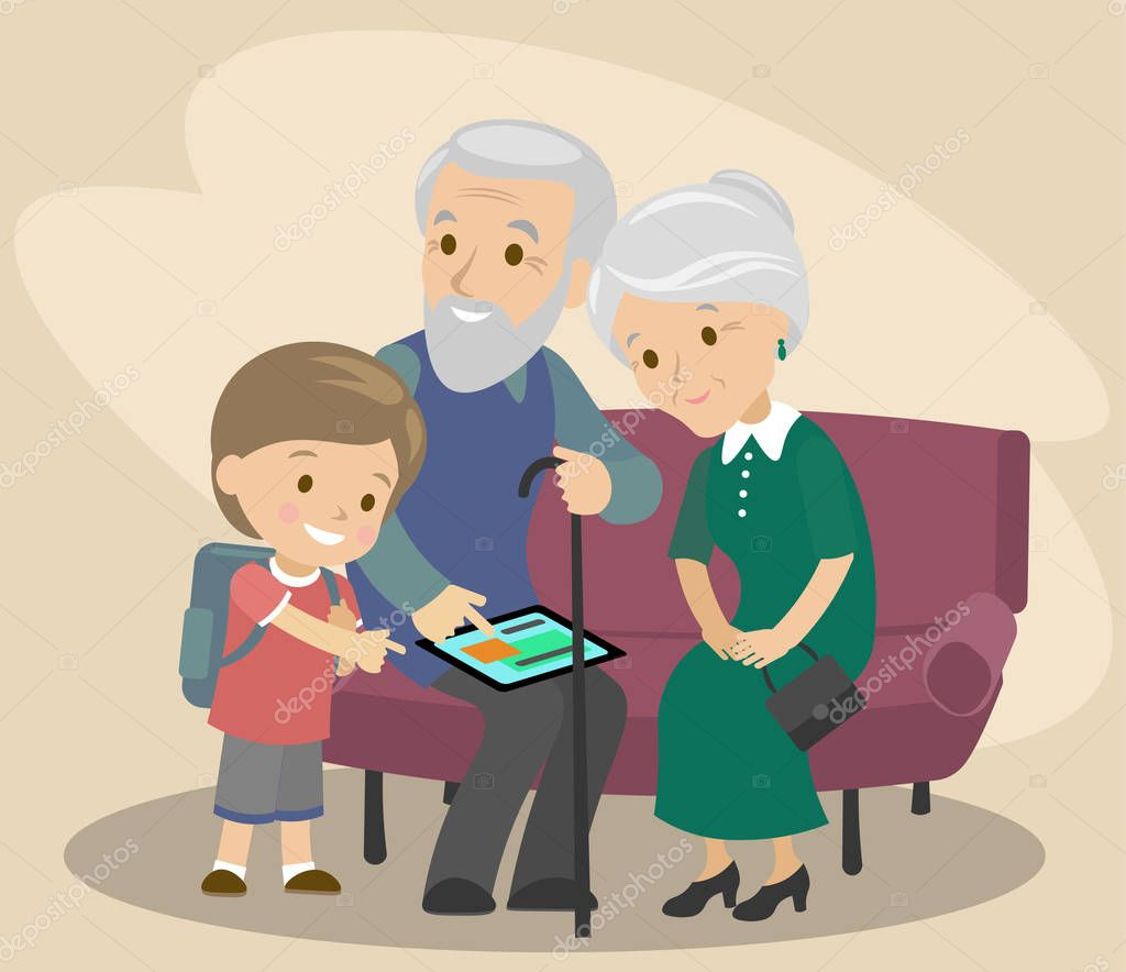 The grandson teaches grandfather and grandmother to use the tablet. Help the elderly. modern technologies. Vector