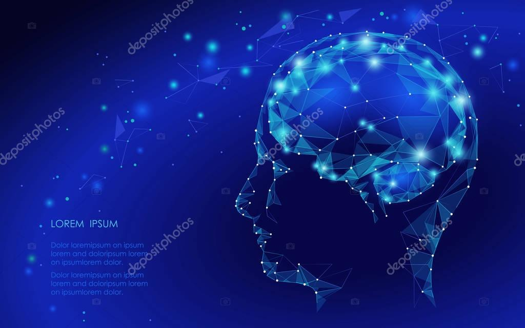 Concept of Active Human Brain with Binary Code Stream. Human Brain Covered with fall of Binary Numbers. Technology Low Poly Design of Human Brain. Brain with Binary Digits. Symbol of Wisdom.