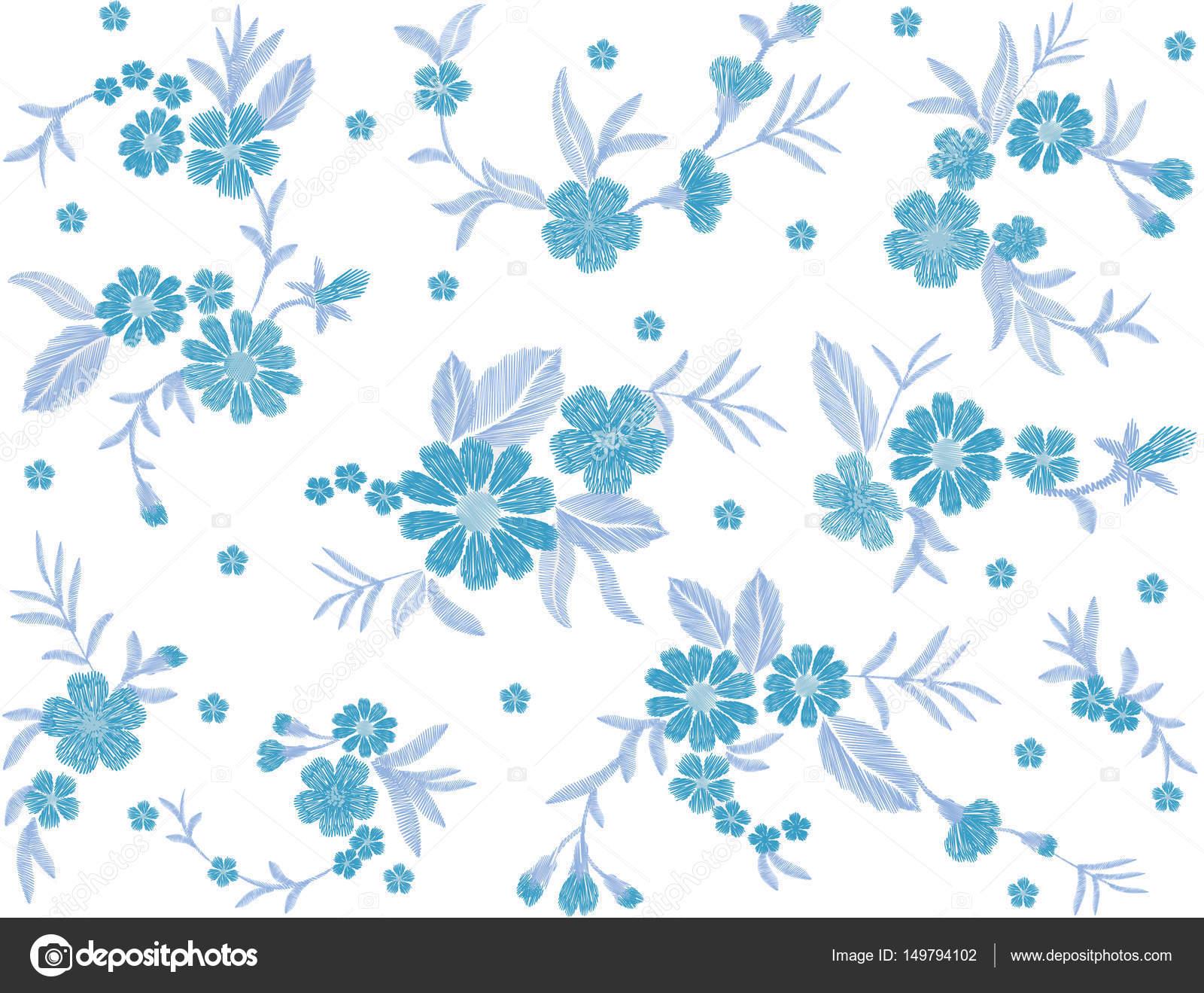 Azul flor de patrones sin fisuras campo moda parche tela bordada ...