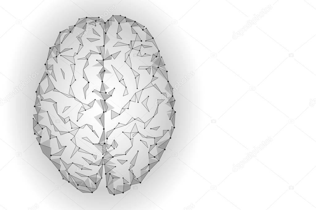 Polygonal human brain. White gray gradient connected dots mind idea concept. Futuristic design background vector illustration