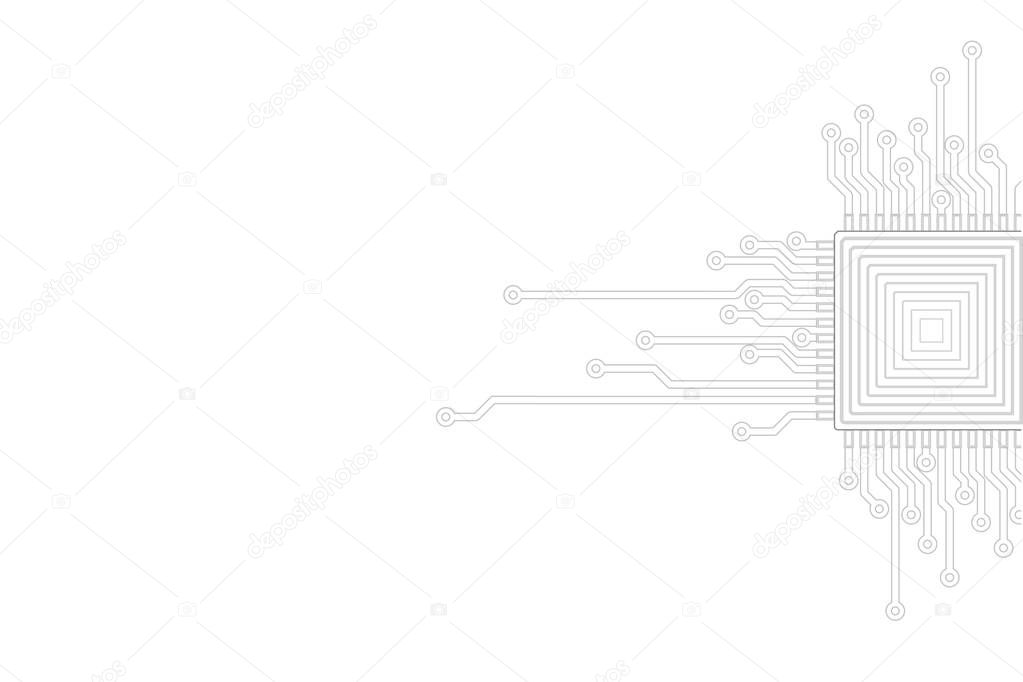 Abstract gray white background. Electric circuit cpu microprocessor neutral template. Technology IT business concept cover vector illustration presentation