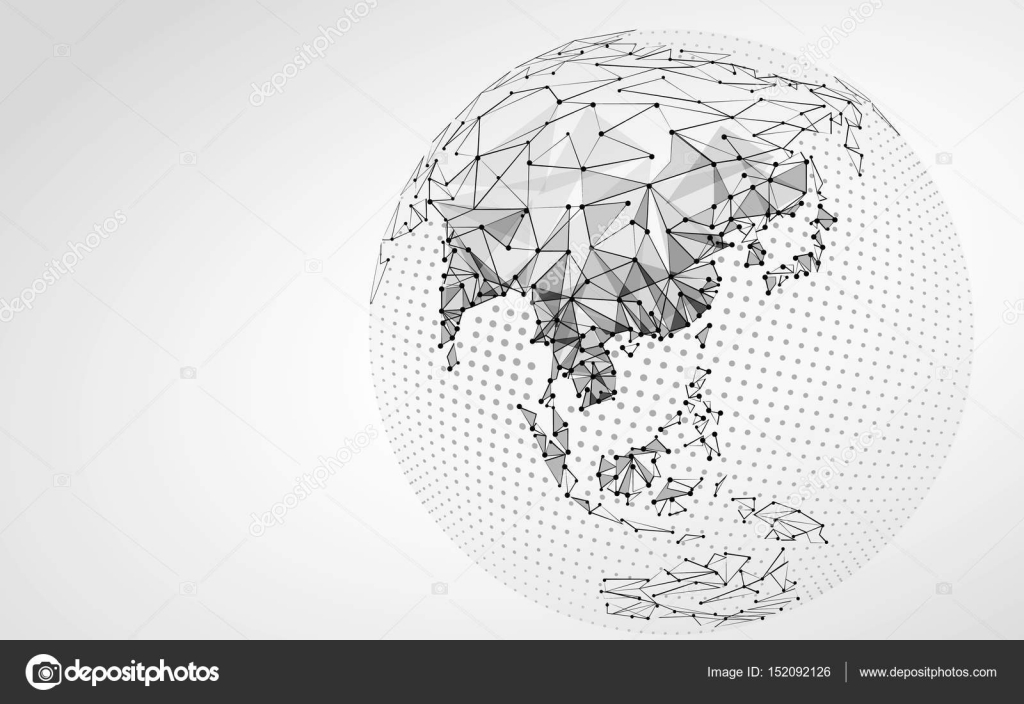 Line Art Vs Halftone : Halftone gray globe earth point line illustration asia