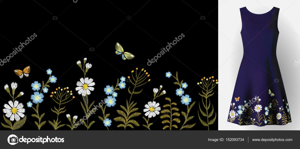 Embroidered patch mockup   Flower embroidery on dress mock