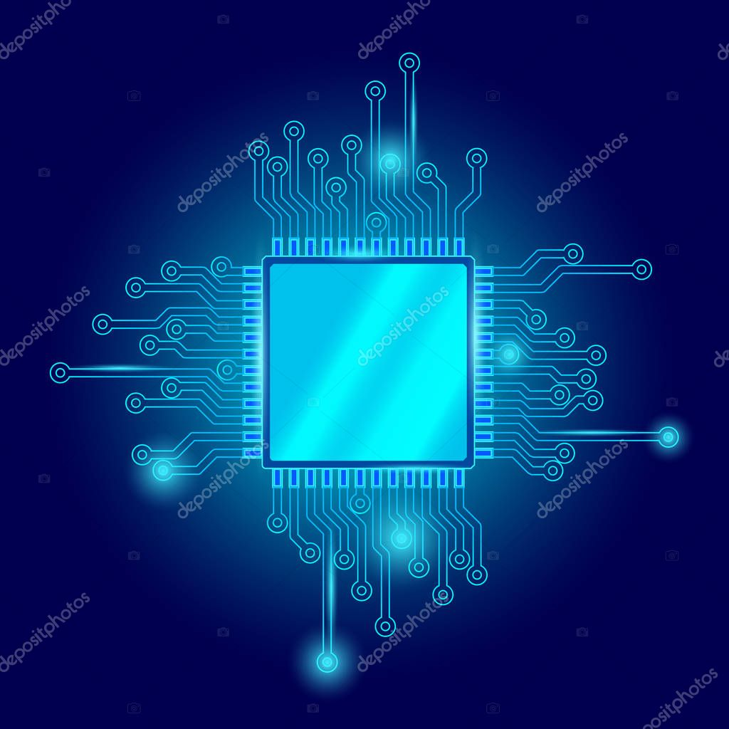 Circuit board cpu microchip abstract high hi tech electric background. Blue gradient motherboard computer technology vector illustration