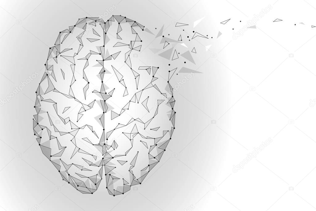 Polygonal human brain. White gray gradient connected dots mind idea concept. Futuristic design background vector illustration
