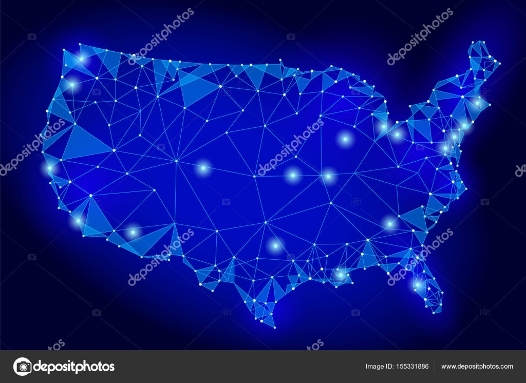 United States Of America Map Low Poly Style Connected Dots - Us map night
