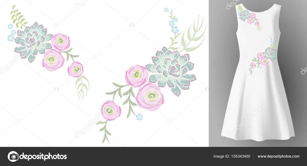Blanke vrouw jurk 3d realistische mock up bloemen borduurwerk mode