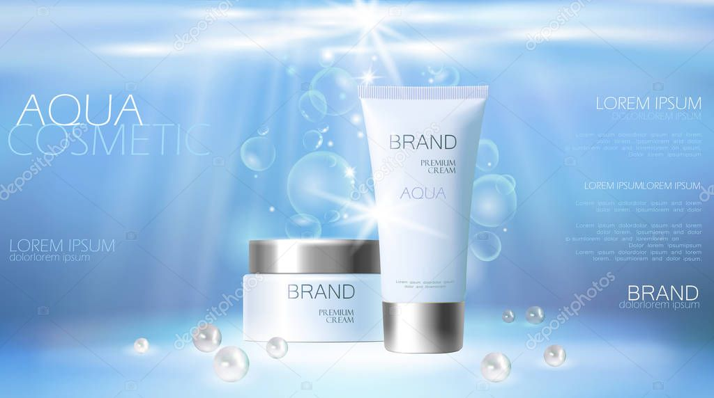 Aqua skin care creme cosmetic ad promoting poster template. Underwater deep sea blue sunlight ray pearls silver vector promo illustration 3d realistic background
