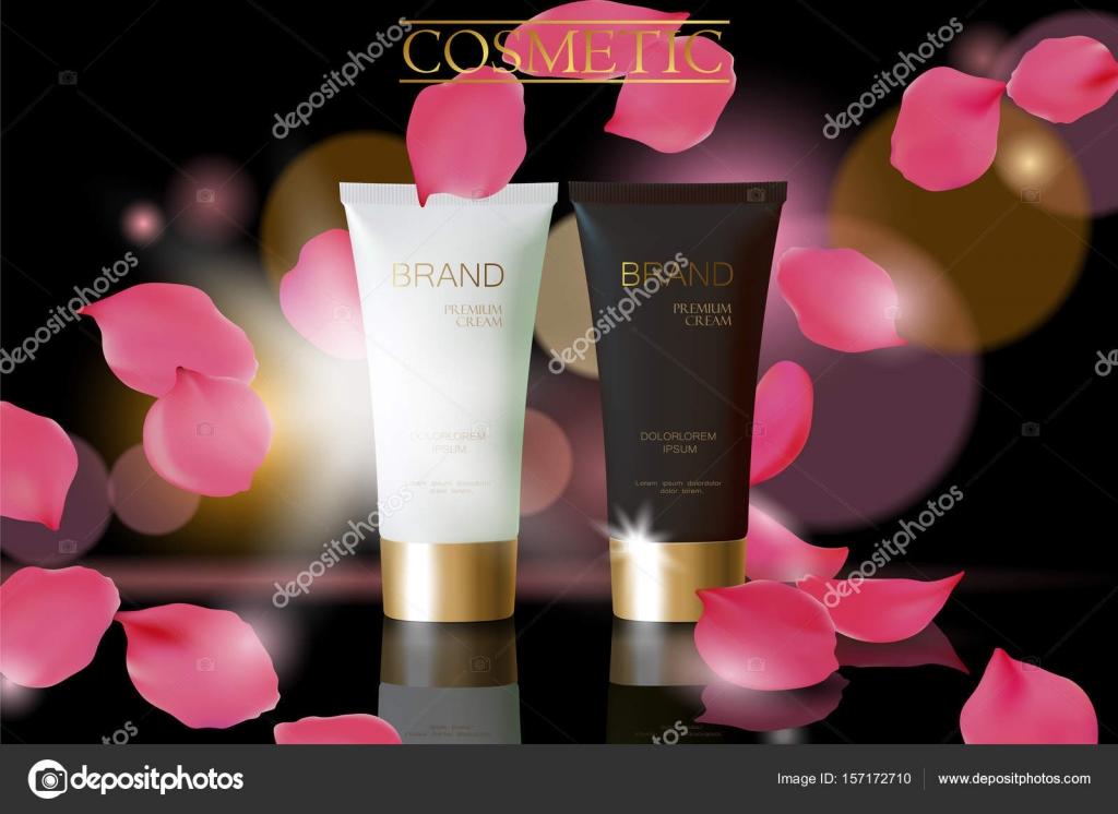 black white cosmetic ad design template dark golden skin care